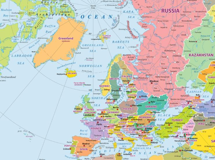 Maps Wall maps World political map in the polar projection