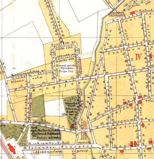 Antique Plan von Mitau 1903 colour reprint