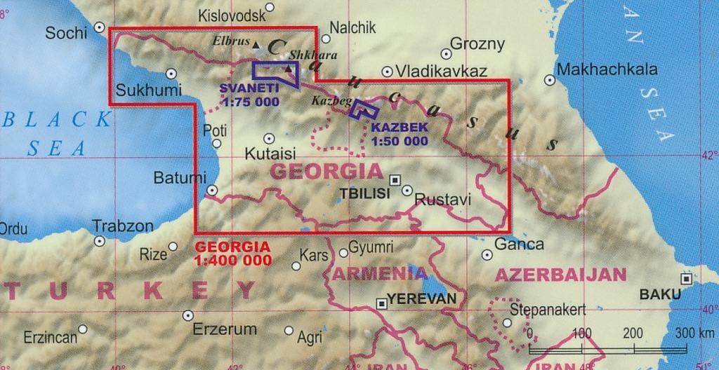Maps - Road maps, atlases - Georgia-Caucasus Mountains. Adventure map