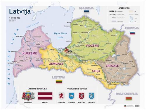 Maps Wall Maps Latvijas Vesturisko Novadu Sienas Karte